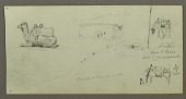 view Sketches of Sitting Camel, Two Grazing Horses, Building digital asset number 1