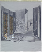 """view Stage Design: Prison Courtyard, Seville, 1800, for """"Fidelio,"""" Act I, Scene 1 digital asset number 1"""