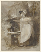 view Young girl getting water at a spring digital asset number 1