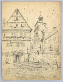 view Medieval Marketplace with Fountain and Houses digital asset number 1