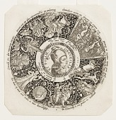 view Design for an Engraved Tazza with the Head of a Jester and a Satyr, representing Pride and Folly digital asset number 1