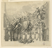 view Design for the decoration of the façade of St. Peter's, Rome, for the Canonization of Giuseppe da Capertino and Jeanne-Françoise de Chantal digital asset number 1