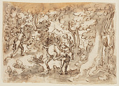 view Sketchbook Page: Stag Hunt in Persia (recto); Stag Hunt by Luigi Alamanni (verso), designs for the Venationes series digital asset number 1