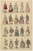 view Design for a Print with Twenty Theatrical Costumes Worn in Paris Performances digital asset number 1