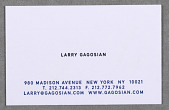 view Business Card for Gagosian Gallery, New York digital asset number 1