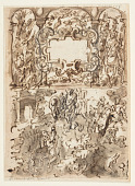 view Page of a sketchbook; Title page for engraving series on hunting; Accident of a hunter digital asset number 1