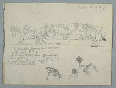 view View of the Riverbank Village of Gaurumo with a Church, Houses, Many Palms and a Boat Visible Before a Distant Hill, With a Additional Sketches of Tree Top and Palm Below digital asset number 1