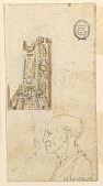 view Design for Ceiling and Profile Head; Verso: Moses with the Tablets of the Law digital asset number 1