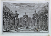 "view Stage Design: Garden Scene with a Fountain, Part V, Plate 8, ""Architettura e Prospettive,"" Augsburg digital asset number 1"