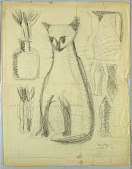 view Design for Tapestry with Cat, Vase, Pitcher, and Fish digital asset number 1
