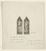 view Adam and Eve, Design for Stained Glass Window, Frankby Church, Birkenhead (Cheshire), England digital asset number 1