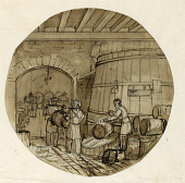 view Design for a Painted Porcelain Plate, Interior of Wine Distillery digital asset number 1