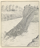 """view """"The Brownies on the Canal,"""" Illustration for """"Another Brownie Book"""" (New York, Century Company, 1890, p. 134) digital asset number 1"""