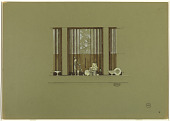 view Design for Art Deco Store Windows Displaying Figurine, Lamps, Bowls, and Plates digital asset number 1