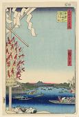 view Miyato River by Great Bank of Asakusa River, No 68 from One Hundred Views of Edo (Asakusa-gawa Okawa-bata, Miyato-gawa) digital asset number 1