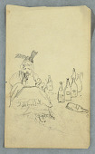 view Woman drinking, wine bottles, recto; Shopping List for Mount Katahdin Climb, verso digital asset number 1