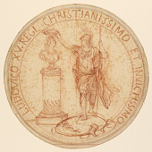 view Design for a medal, Minerva crowing a bust of Louis XV digital asset number 1