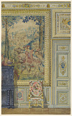 view Section of a wall showing portion of Flemish tapestry, Tapestry room, Palace of Fontainebleau, France digital asset number 1