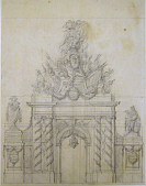 view Design for a painted decoration in honor of a French general who had been governor of a crown prince digital asset number 1