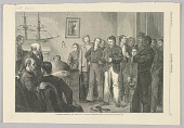 view Examining Recruits for the Navy—A Knotty Problem, Illustration for Harper's Weekly (XVIII, January 24, 1874, p. 81) digital asset number 1