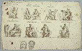 view Designs for paintings in Montmorency: The Nine Muses and two masks, Tragedy and Comedy digital asset number 1