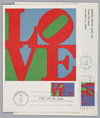view LOVE, Envelope and postcard commemorating first day of issue of postage stamp designed by Robert Indiana digital asset number 1