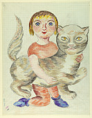 view Child with Cat (Mise-en-carte) digital asset number 1