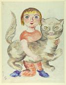 view Child with Cat (Mise-en-carte) digital asset number 1