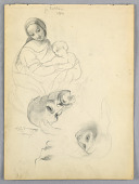 view Madonna and Child, Sketches after Leonardo Da Vinci and Fra Bartolomeo of Works in the Uffizi, Florence digital asset number 1