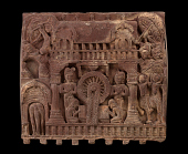 view One face of a fence-rail from Bharhut: King visits the Buddha (Great Miracle of Sravasti) digital asset number 1