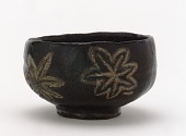 view Kenzan-style Black Raku tea bowl with design of maple leaves digital asset number 1