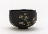 view Kenzan-style Black Raku tea bowl with design of pines digital asset number 1