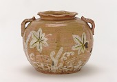 view Kenzan-style Red Raku water jar with design of maple leaves and gabions digital asset number 1