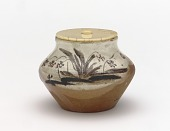 view Kenzan-style tea container with design of violets digital asset number 1