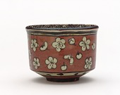 view Kenzan-style tea bowl with design of plum blossoms digital asset number 1
