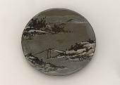 view Kenzan-style brazier tile with design of winter landscape digital asset number 1