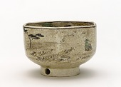 view Six-sided ember pot with design of Tama River of Musashino digital asset number 1