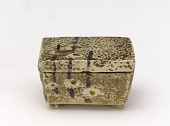 view White Raku incense container with design of plum shoots digital asset number 1