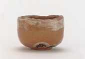 view Red Raku tea bowl with design of snow-laden pines digital asset number 1