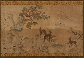 view Tapestry: landscape with deer, storks, pines, and peach-tree digital asset number 1
