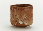 view Cylindrical tea bowl in Red Shino style, named Tsurara (Icicle) digital asset number 1
