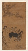view Two men and two horses under a pine tree digital asset number 1
