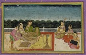 view A Lady and attendant on a terrace at evening, with three women musicians digital asset number 1