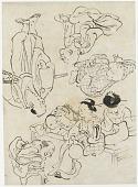 view Miscellaneous figures: summer pleasures, figures seated on the verandah; and (lower) Samurai digital asset number 1