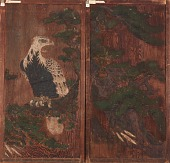 view Pair of doors with eagle on a pinetree on one side; deer and cherry-blossoms on the other digital asset number 1