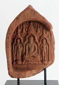 view Votive plaque (<em>sacchas</em>) with three Buddhas digital asset number 1