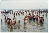 view Pilgrims at Mouth of the Ganges, Sagar Island 1985 digital asset number 1
