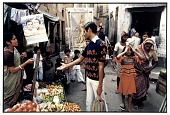 view A Vegetable Seller, Clients and Saraswati, Goddess of the Arts, Calcutta, 1985 digital asset number 1