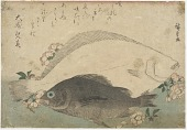 view Wood-block print of two fish with floral sprays and a poetic inscription digital asset number 1