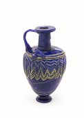 view Dark blue, three-handled jug with yellow and white dragged designs digital asset number 1